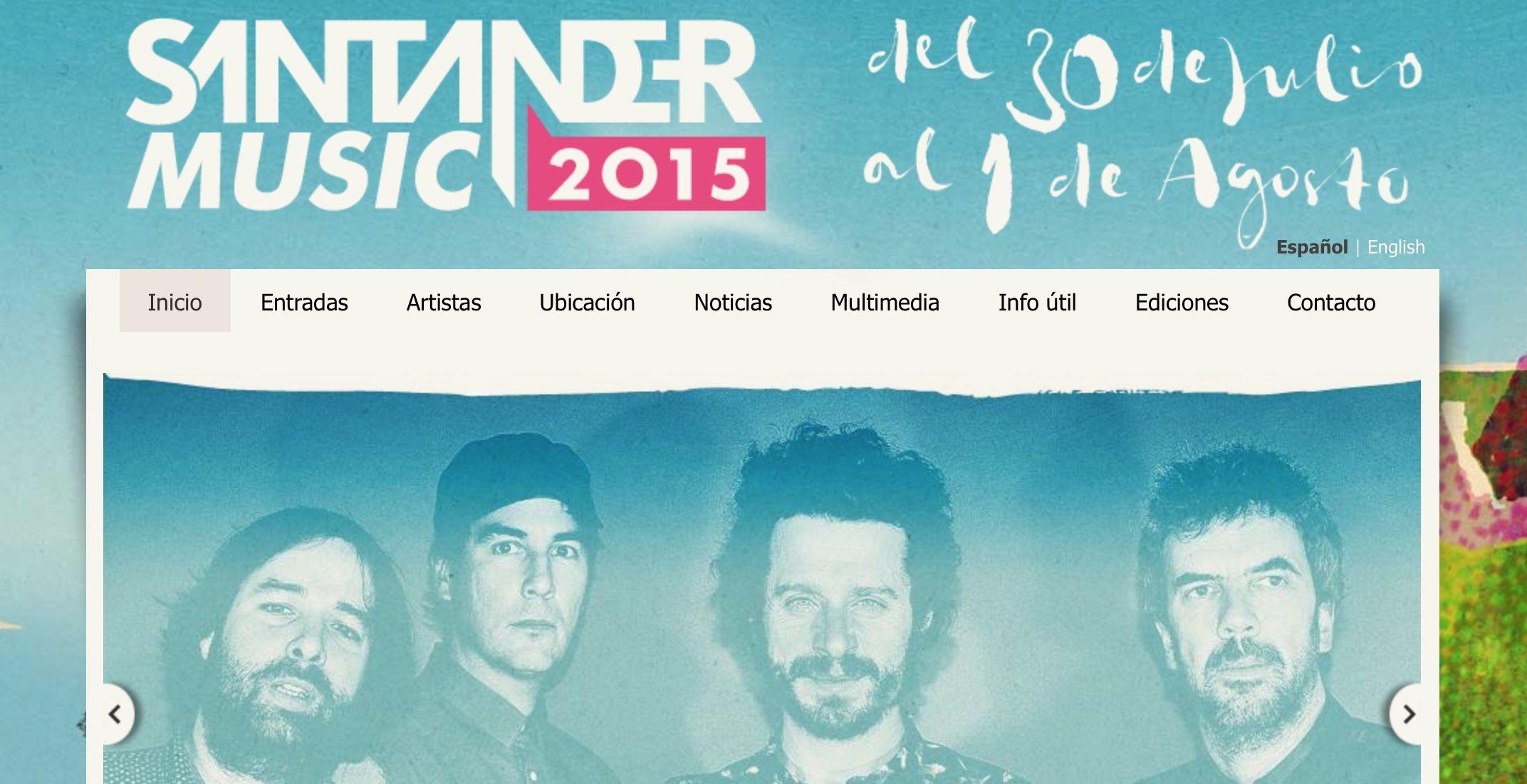 Página web oficial del Santander Music