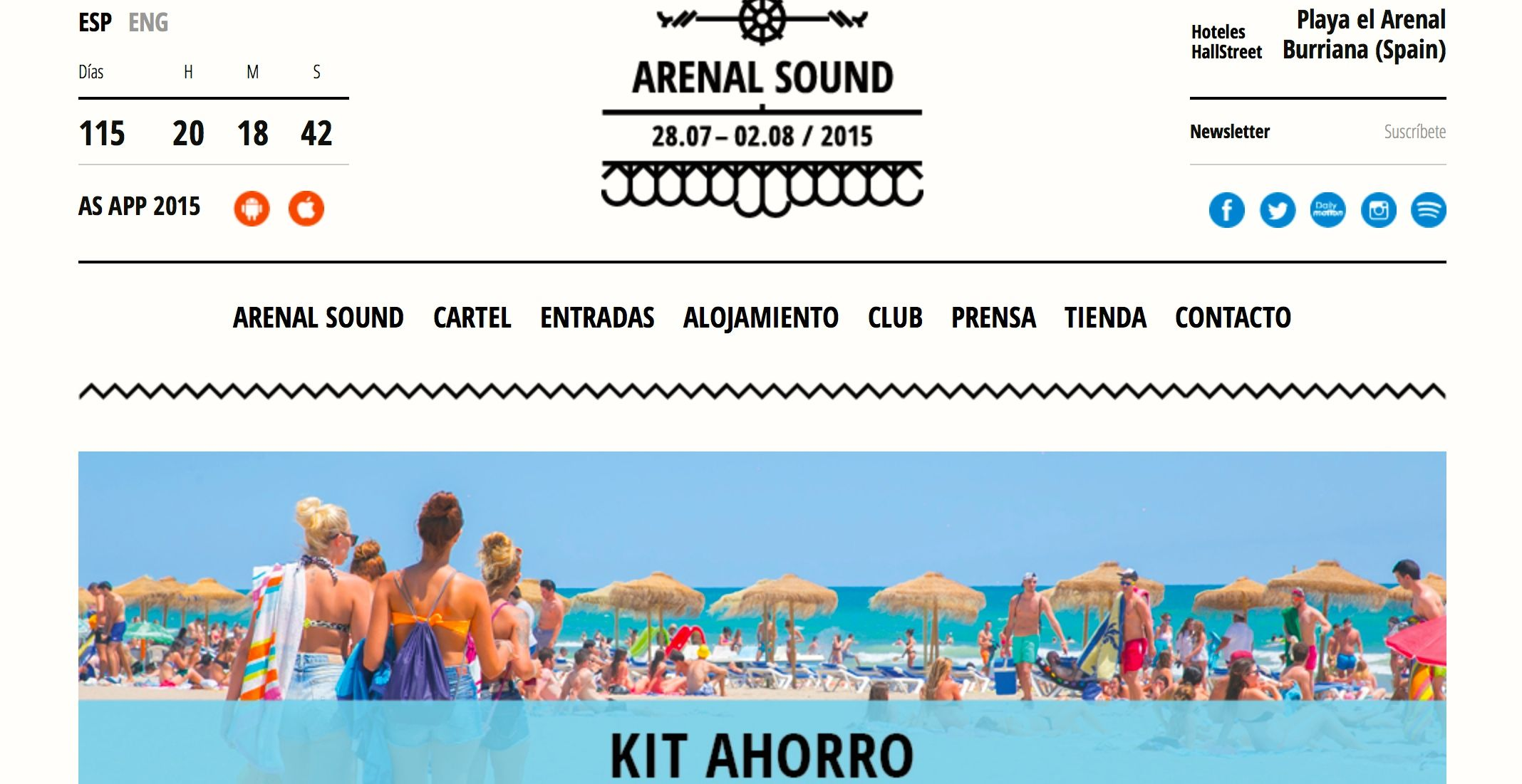 Página web oficial del Arenal Sound