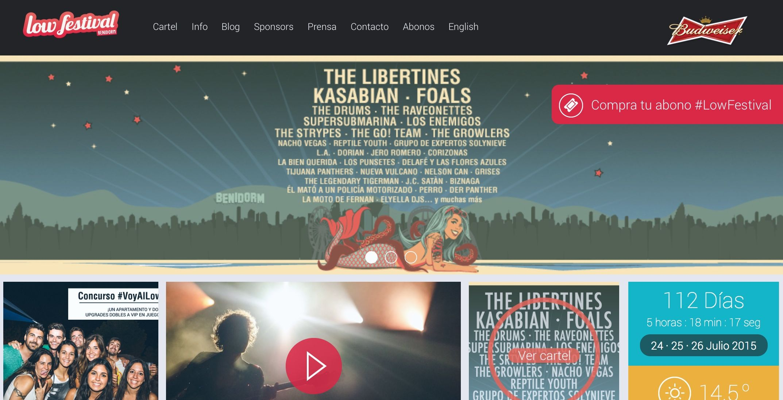 Página web oficial del Low Cost Festival