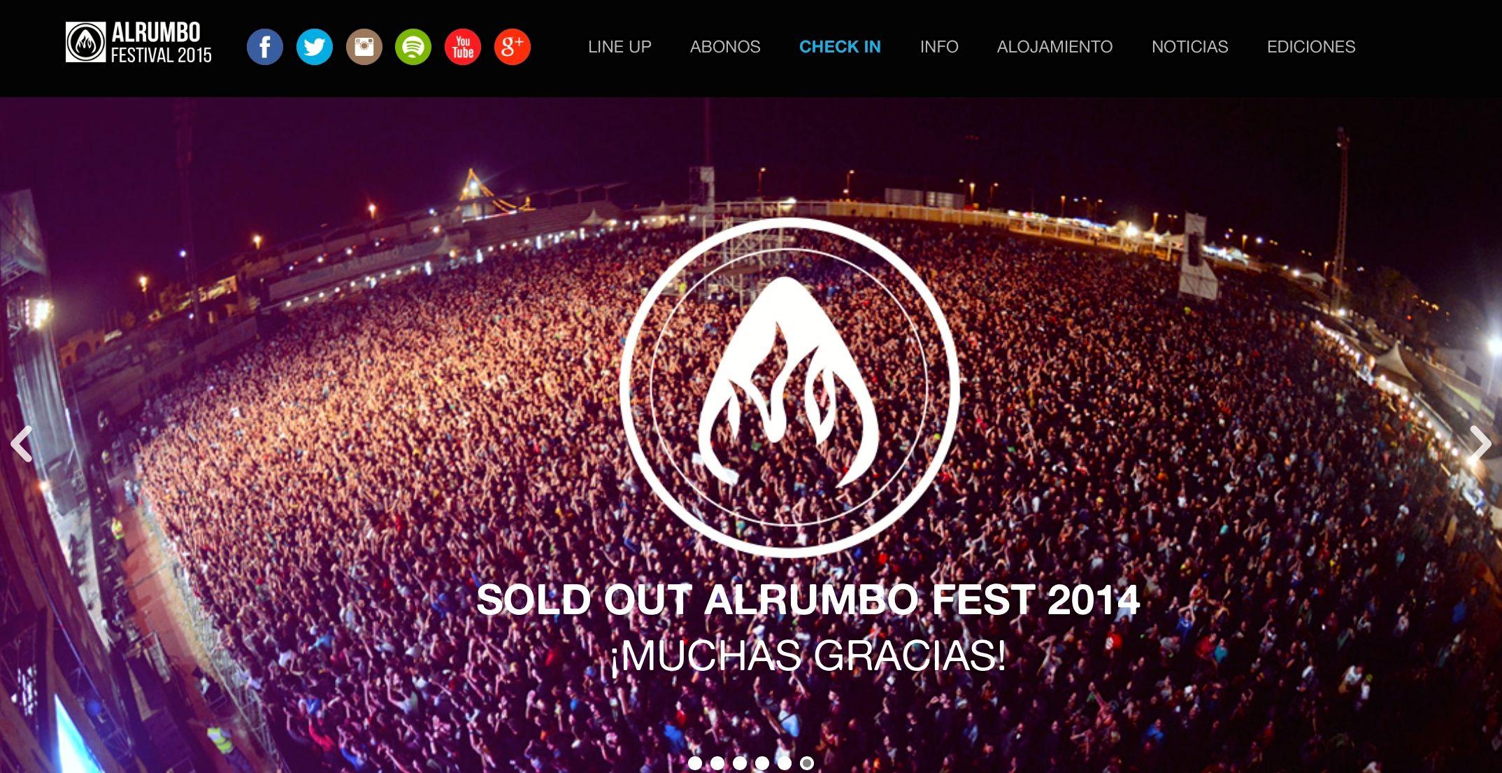 Página web oficial de AlRumbo Festival