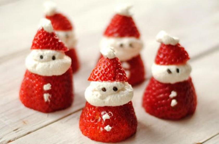 papa noel de fresa navideños
